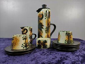 Celtic Pottery Newlyn Cornwall Phoenix pattern coffee set