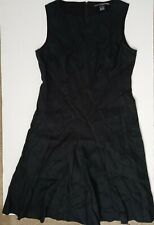 Linda Allard Ellen Tracy Women's Sz 10 Linen Dress Black Color