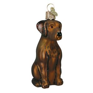Old World Christmas CHOCOLATE LABRADOR Lab Dog (12387)N Glass Ornament w/OWC Box