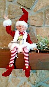 "NWT RAZ 15"" Santa's ELF Peppermint Stripe Red White Christmas Figure Display"