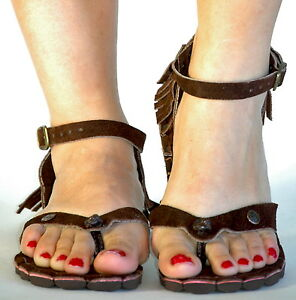 Beautiful Suede sandals brown handmade comfortable real leather.
