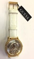 $175 Gold Paisley Dial White Leather Reduced Guess Watch New With Tags Retail