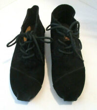 Toms Black Suede Leather Hightop Shoes, Size W8