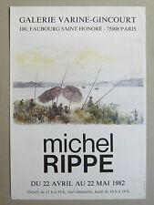 RIPPE Michel Affiche 1982 Pêche Cannes à pêches lac rivière mer bateaux poster