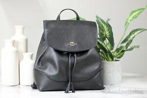 Coach F72645 Elle Black Pebbled Leather Convertible Drawstring Backpack BookBag
