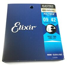 Elixir Guitar Strings  Electric   Polyweb  12000  Super Light   (9-42)