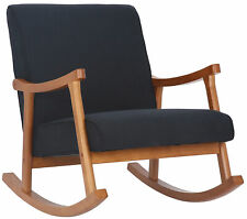 Chaise Bascule Morelia Tissu avec Accoudoirs Fauteuil de Relaxation Pieds Bois