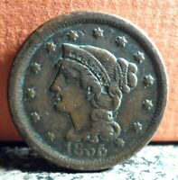 Very Nice Better Grade 1855 Upright 5's Braided Hair Large Cent