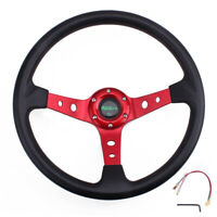 "MUGE-13.5"" 9.5cm Deep Dish Universal Drifting Racing Steering Wheel Aluminum Red"