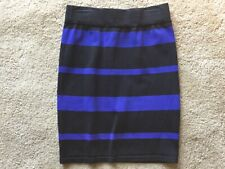 WOMENS JUNIORS FOREVER 21 XAI SZ S BLUE AND BLACK STRIPED FITTED SKIRT WORK NICE