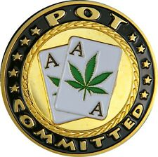 """Poker Card Guard """" Pot Committed """" 24K GOLD PLATED"""