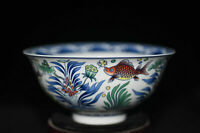 Fine Chinese Hand-painted Fish porcelain Bowls Qianlong Mark a680