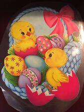 Vintage Easter Decorations Paper Cardboard Die Cut Dennison Chicks Basket Blue