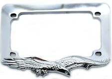 """Chrome """"Eagle"""" License Plate Frame For Most Motorcycle Tag Number Brackets"""