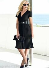 Kaleidoscope~  Black Pleated Dress With Patent Belt ~ Size 10  ~rrp £65 ~ ref 4