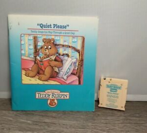 """Teddy Ruxpin Book and Tape Cartridge """"Quiet Please"""" World of Wonder 1985"""
