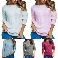 Women Chunky Knit Long Sleeve Sweater Top Casual Pullover Crewneck Jumper Blouse