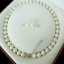 8mm White Akoya Shell Pearl Necklace Earring AAA 18""
