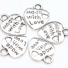 50pcs Silver Plated Heart Letter Carving Charms Pendant Craft Jewelry Findings