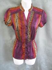 East 5th Blouse Size Small Psychedelic Print Satin Ruffled Front Top