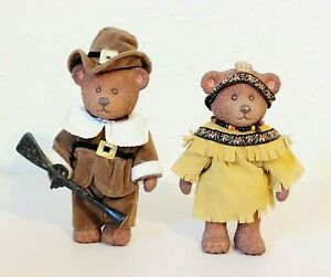 "Russ Berrie Bertie Thanksgiving Pilgrim Boy Indian Girl Bear Figures 5"""