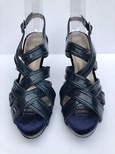 Autograph Insolia M&S Women's Navy Stiletto Heel Peep Toe Slingback Shoes UK 3.5