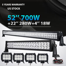 """52INCH 700W LED Light Bar Combo+ 22"""" 280W + 4"""" 18W For Jeep Wrangler JK YJ TJ CJ"""