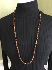 """Brown and Cream Art Glass Bead 34"""" Necklace (68)"""
