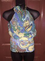 Chi...Chi Ladies Sheer Choker Neck Blue Multi-Color Elastic Waist Blouse size L
