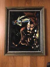 Vtg Mexican Black Velvet Painting Spanish Matador Bull Fighter Framed Signed AL