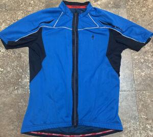 mens specialized jersey Cycling Men's Blue Full Zip Medium Polyester Traptek