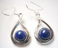 Round Lapis Lazuli with Overlapping Hoops 925 Sterling Silver Dangle Earrings