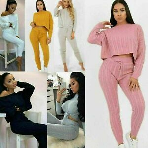 Womens Ladies Cable knitted baggy casual 2 Pcs Loungewear Set suit Jogsuit New