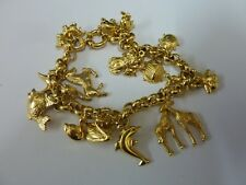 "Wonderful 9ct Gold 7"" Belcher Charm Bracelet with 20 charms"