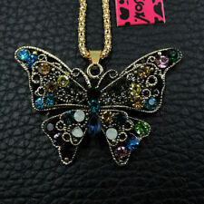 Multi-Color Butterfly Betsey Johnson  Pendant Necklace N11