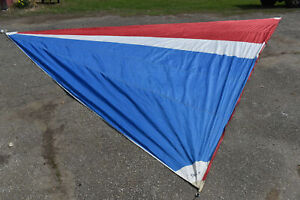 """Sailboat Yacht Sail, Red White Blue Multicolor, Triangle 237x264x293"""" Used"""