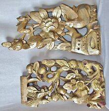 """2 Antique Chinese Carved & Gold Painted Wood Panels of Birds & Flowers  (19"""")"""