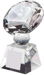 Female Crystal Diamond Golf Trophies  Free Engraving