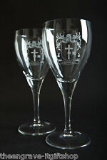 Family Crest -  (11oz)  Red Wine Glasses - Wedding/Anniversary Gift - Set of 2