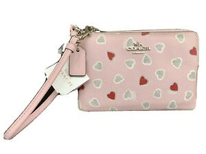 Coach Pink Wristlet with Red & Silver Hearts NWT