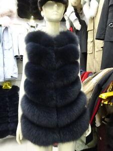 Women Coat Real Vulpes Fox Fur Vest Winter Luxury Fur Gilets Sleeveless Overcoat