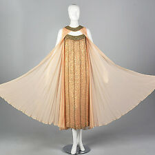S VTG 1960s Unique Summer Evening Formal Dress Chiffon Cape Wedding Gown Sequin
