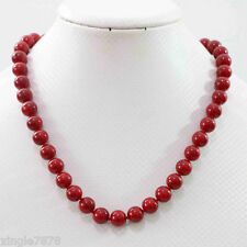 New 10mm red coral round Gemstone beads necklace 18''