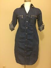 Vintage 90's GUESS Blue Denim Jean Adjustable Sleeves Dress Size Small