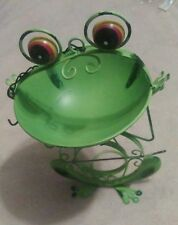 Brand New Bird Feeder-Frog-Shaped- Green Body, Blue Polka Dot Bow Tie-Handsome