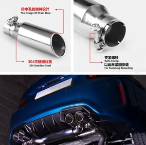 Stainless Steel Car Auto Vehicle Exhaust Muffler Tail Pipe Tip DB Killer Silver