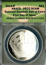 US Coin 2014-P Silver Baseball Hall Of Fame Dollar DCAM ANACS PR70 NO RESERVE!