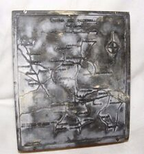 Vintage metal Printing Press Plaque Gravure Zinc Welsh Carte llangyfelach District