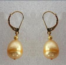 New 10-12MM AAA PERFECT south sea yellow pearl earrings 14K GP