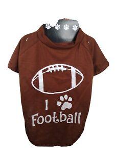 Dog T Shirt  I Paw Football  Brown  Medium   New